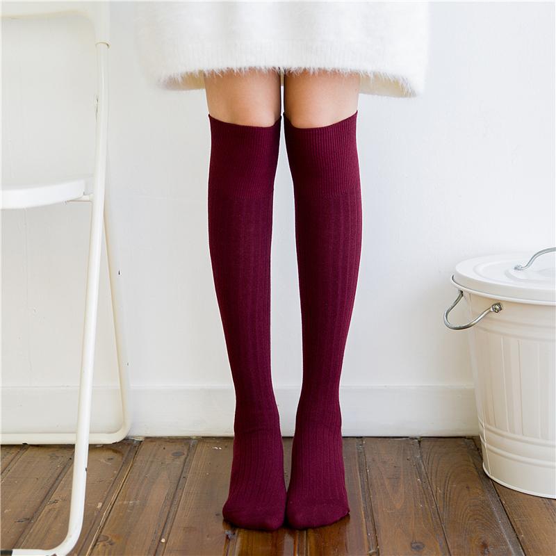 秋冬季薄款女显瘦美腿及膝袜百搭半高筒日系长袜了韩国韩版小腿袜