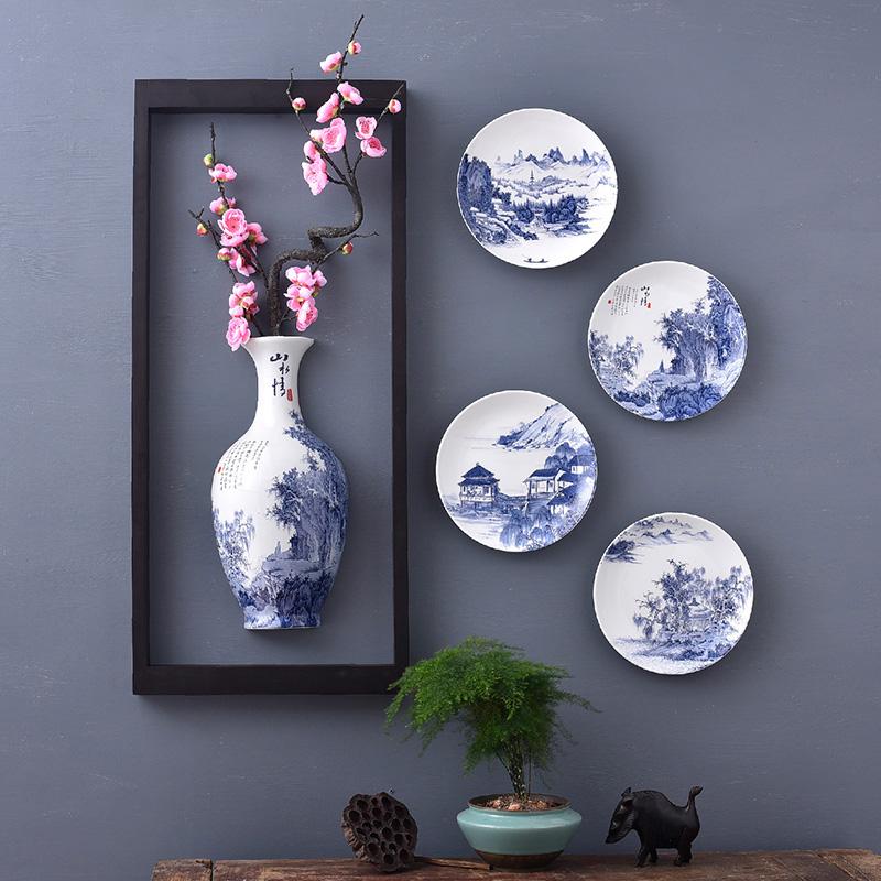 青花瓷挂件墙面装饰壁挂花瓶客厅电视背景墙面装饰房间装饰品玄关
