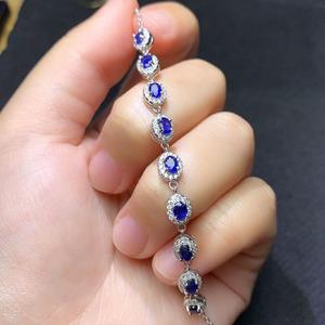 天然蓝宝石裸石925银镶精致手链