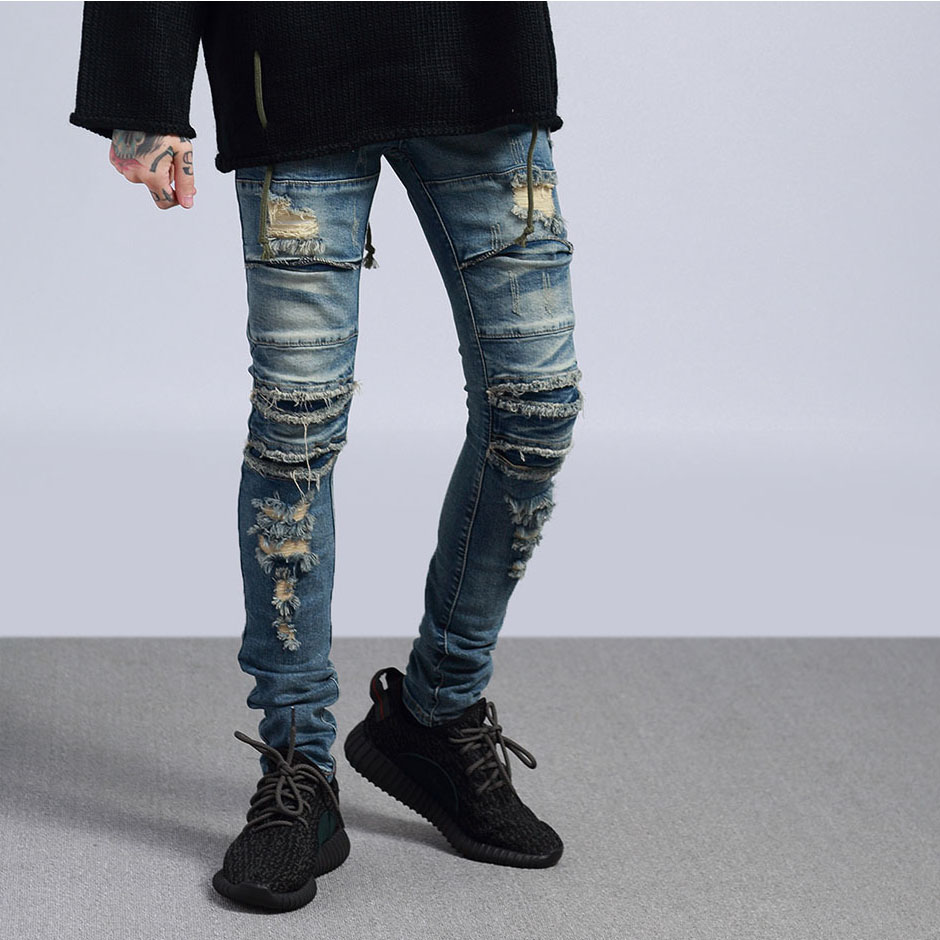 European and American youth fashion brand high street hole thin jeans small foot rock trend slim fit versatile popular embroidery pants