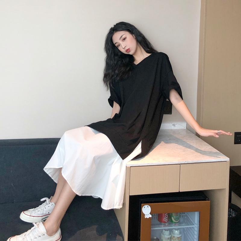 实拍 港味宽松休闲简约V领经典黑白拼接裙摆T恤裙长裙连衣裙p69