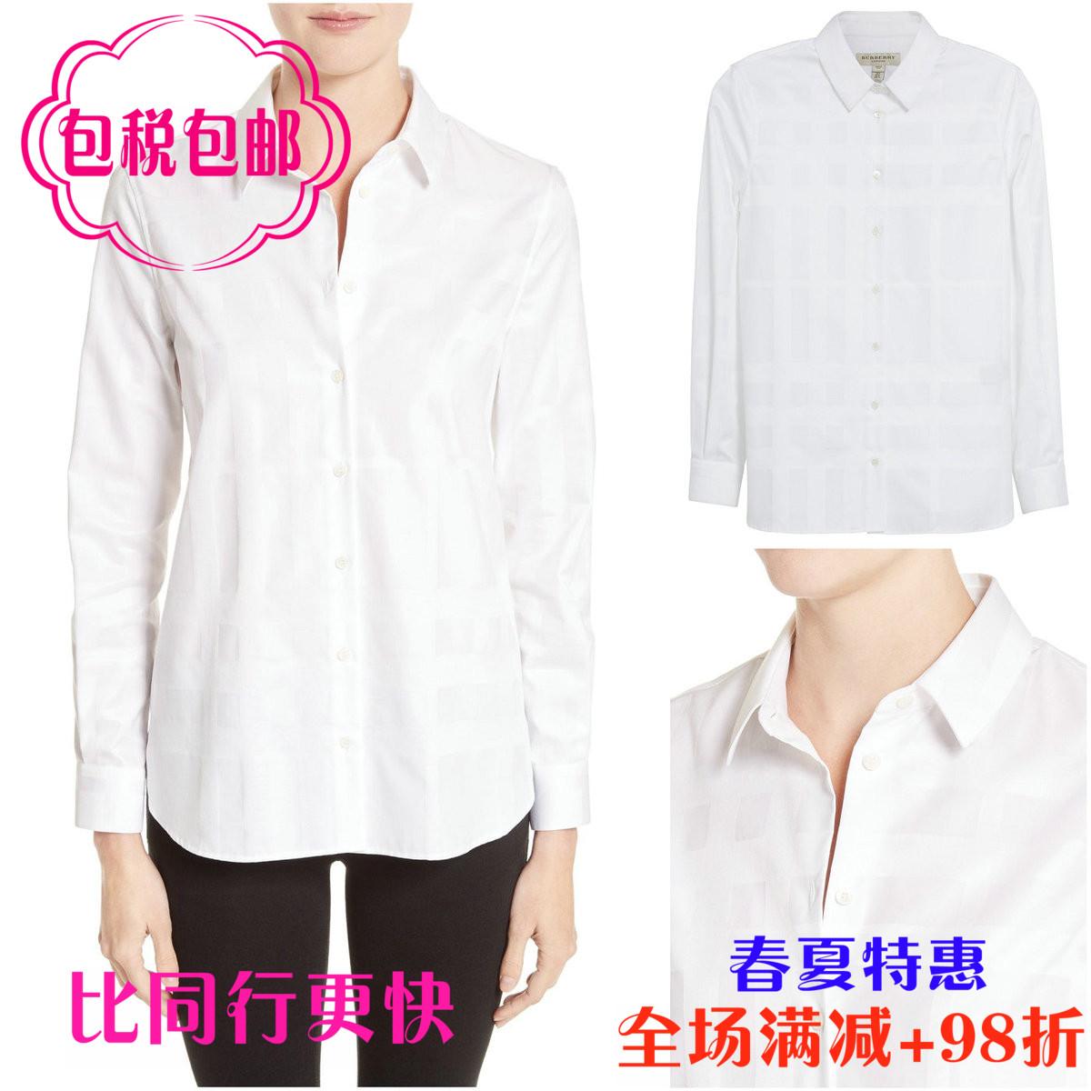 美国代购BURBERRY时尚纯棉舒适透气纯白长袖衬衫新款英伦衬衣女装