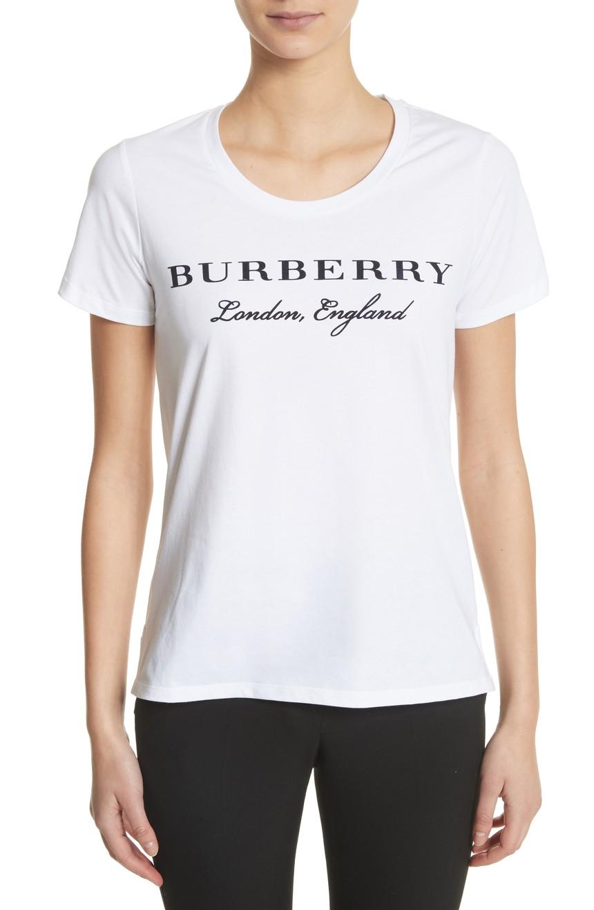 1美国代购包邮BURBERRY女装新款薄款透气上衣纯棉圆领夏季短袖T恤
