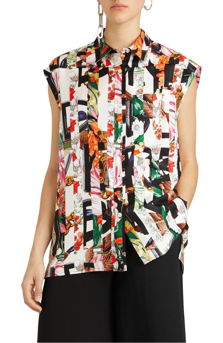 美国代购包邮BURBERRY女装薄款上衣印花真丝衫翻领无袖夏季T恤衫