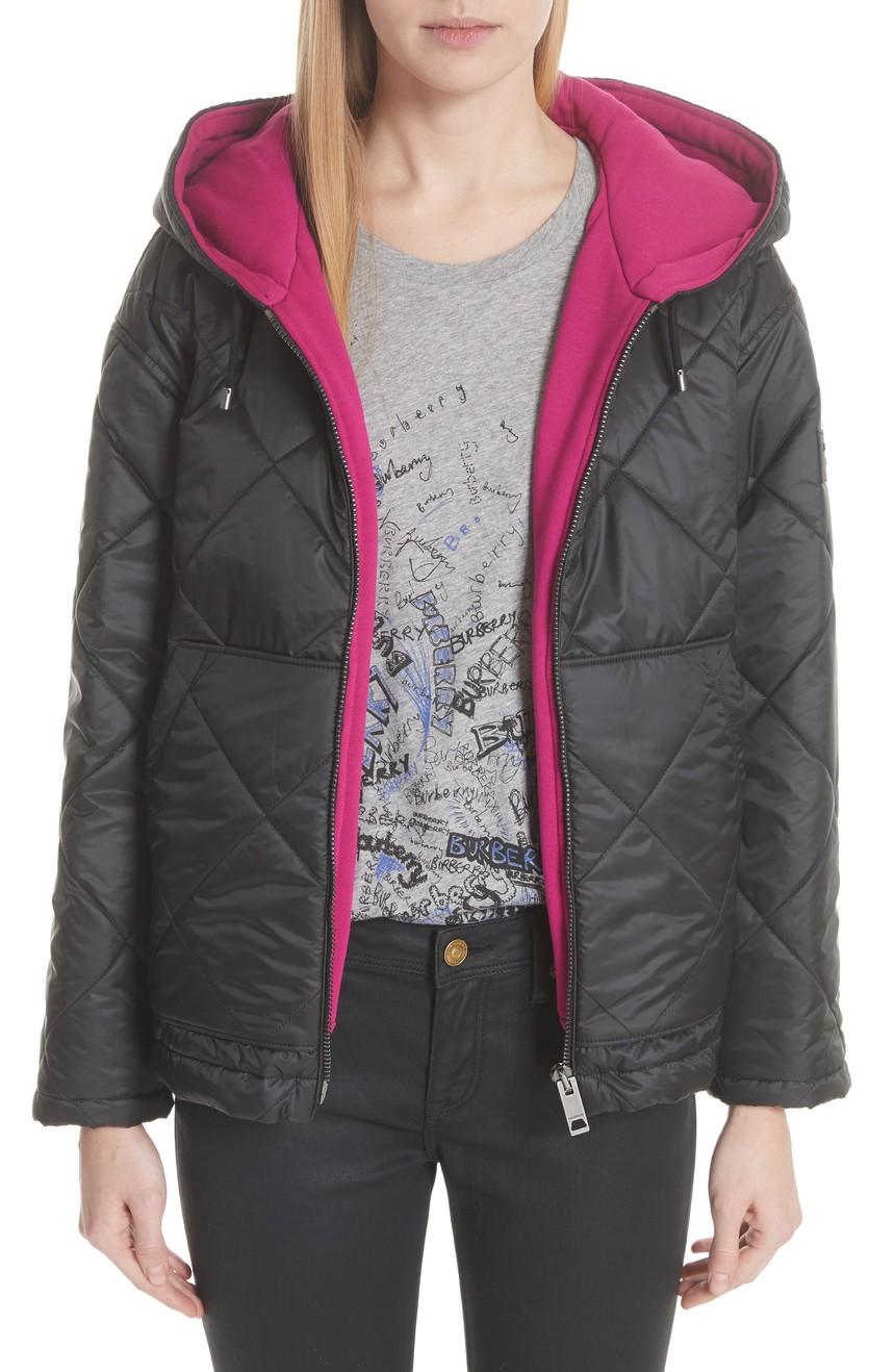 1美国代购包邮BURBERRY女装新款防水耐磨外套连帽保暖棉衣/棉服