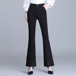 2021新款高腰微喇叭女长裤垂感显瘦弹力大码休闲喇叭裤,女装休闲裤,香爱莎女裤
