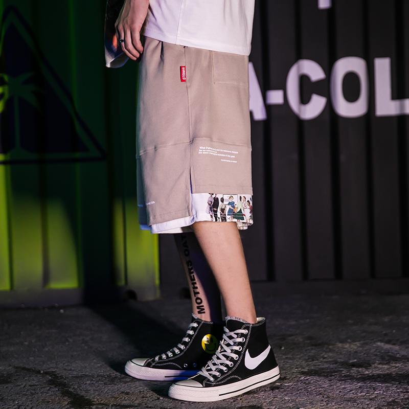 THE ONE 19国潮原创个性假两件短裤男日系潮流宽松纯棉五分裤薄款
