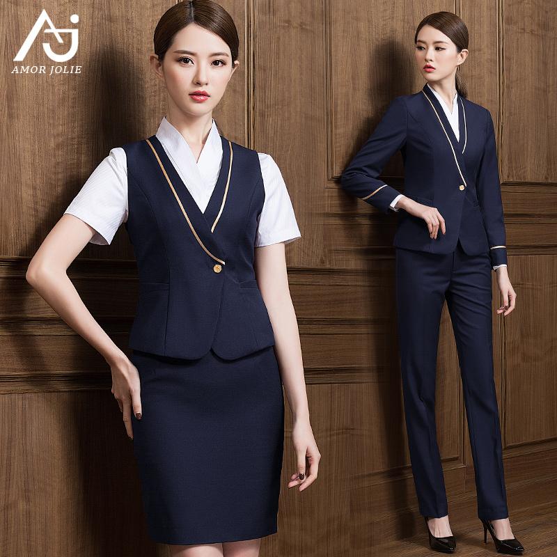 南航空姐制服职业套装西装裙夏季修身正装酒店前台工作服经理工装