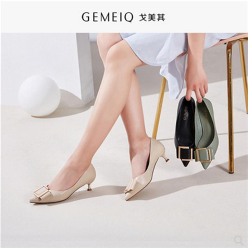 戈美其2019春秋新款尖头细中跟时尚女单鞋流行时装女鞋177110681