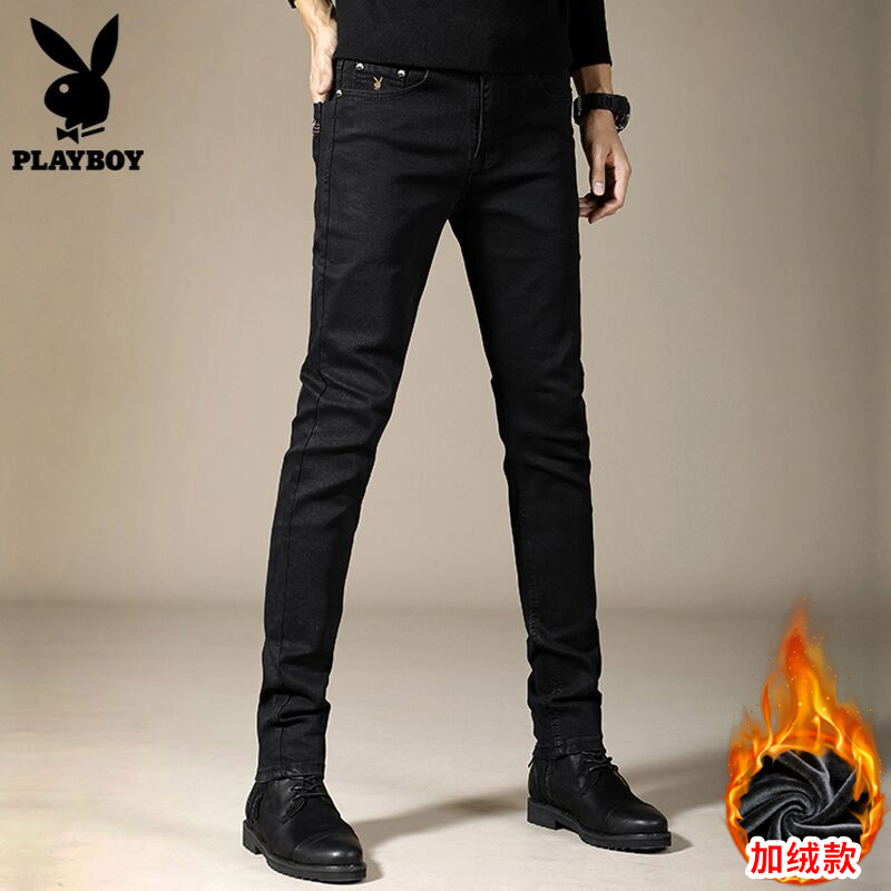 Playboy thickened high-end casual jeans men's black tide brand autumn and winter self-cultivation feet long pants plus velvet