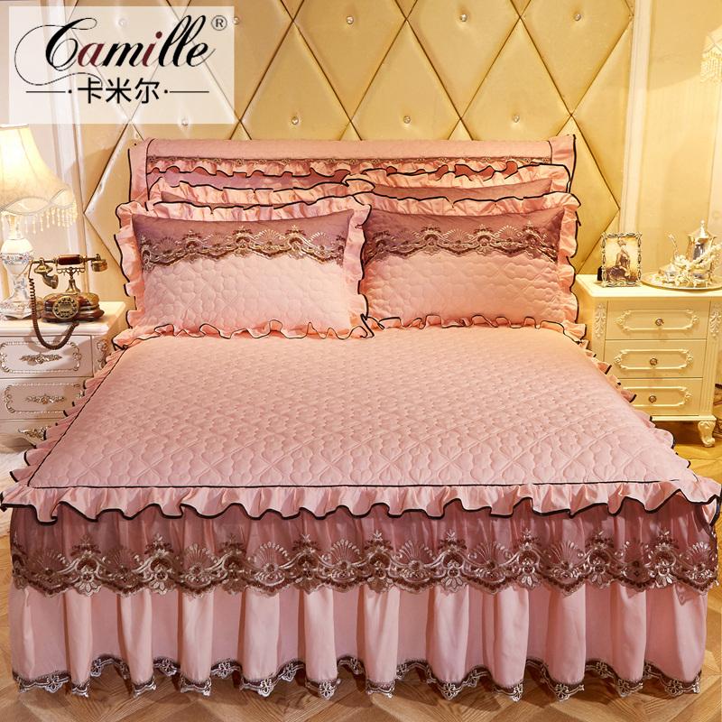 韩版公主蕾丝床裙式单件夹棉加厚床罩床套席梦思保护套1.5m1.8米