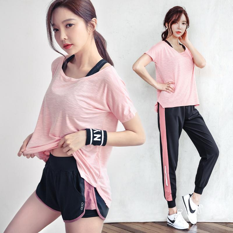 运动套装女夏宽松薄款韩国性感健身衣大码速干显瘦跑步瑜伽服透气