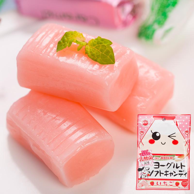 日本进口零食 茱力�草莓味酸奶软糖含乳酸菌儿童糖果袋装38g