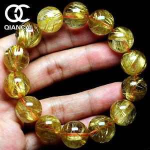 天然钛晶金发晶手链黄发晶手串男女招财转运水晶珠宝手链带证书