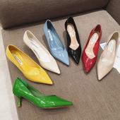 34码黄色尖头高跟单鞋女2021漆皮面浅口细跟工作鞋绿色通勤上班鞋