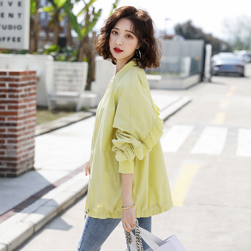 Small jacket womens candy color top 2020 spring and summer back with ear thin and trendy Ruffle short coat women