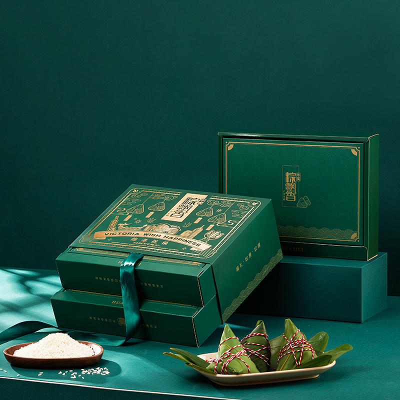 华美维港祝福800g鲜肉粽豆沙水晶西米真空双层礼盒端午送礼嘉兴