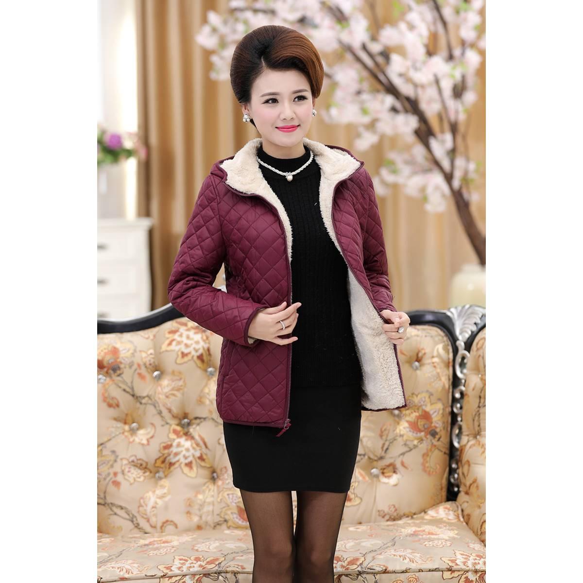 中年女装秋冬加绒棉衣袄子中老年韩版大码加肥羊羔毛妈妈外套夹克