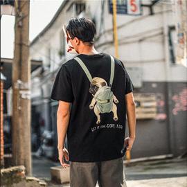 辰未2020夏季男士短袖T恤纯棉情侣装圆领宽松卡通狗动漫印花上衣图片