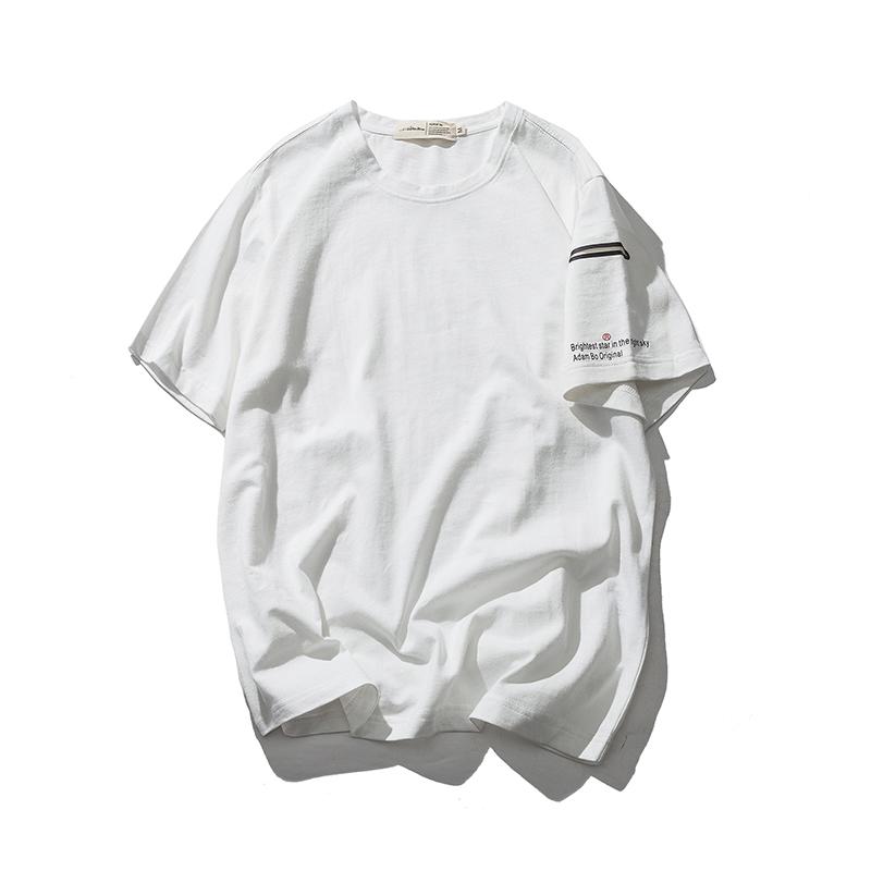 清�}特�r日系潮牌袖上�耗z口袋短袖男青少年��性百搭�W生�色T恤