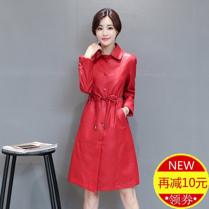 New genuine Haining leather garment womens middle and long Korean fit coat spring and autumn winter locomotive leather trench jacket trend