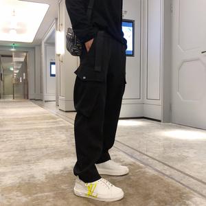 大花小花男装 秋冬新款 附送腰带黑口袋工装休闲西装裤 男裤长裤