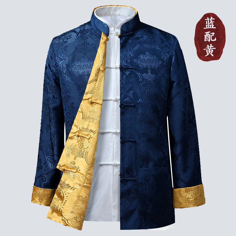 券后125.00元唐装春秋款复古丝绸外套男长袖双面穿夹克中国风民族汉服男米尼也