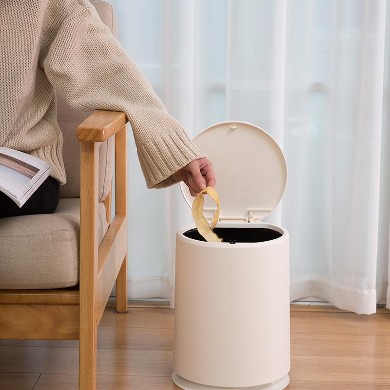 日本桌面垃圾桶按压式小垃圾筒带盖迷你可爱创意台面塑料收纳桶