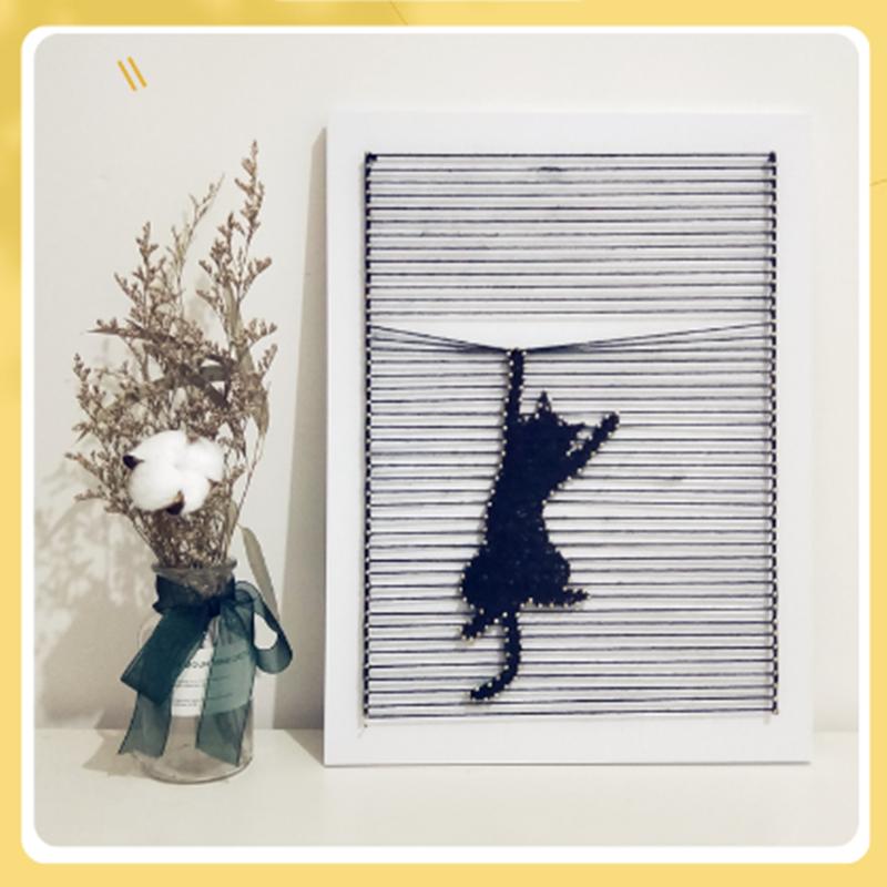 苑DIY北欧ins装饰摆件钉子绕线画调皮猫小可爱创意材料包邮礼物