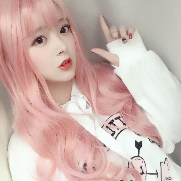Lolita soft cute girl long curly hair Lolita Sweet Princess make up wig nightclub bar color false hair