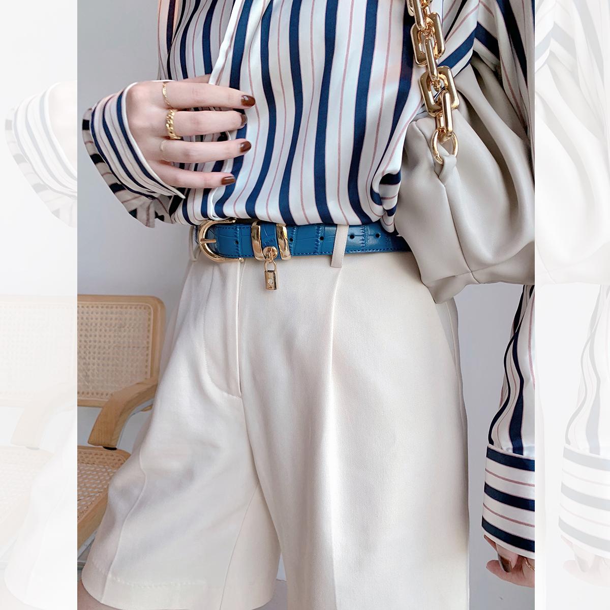 大洪洪洪 蓝色简约双层牛皮时髦腰带女2020新款时尚休闲百搭皮带