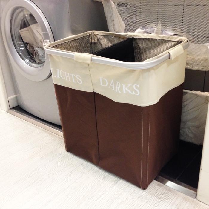 加大号双格牛津布脏衣篮脏衣收纳筐 玩具篓子浴室装防水脏衣服框