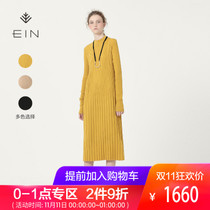 EIN / words wool long autumn sweater skirt long-sleeved knit dress autumn dress new women's 2018