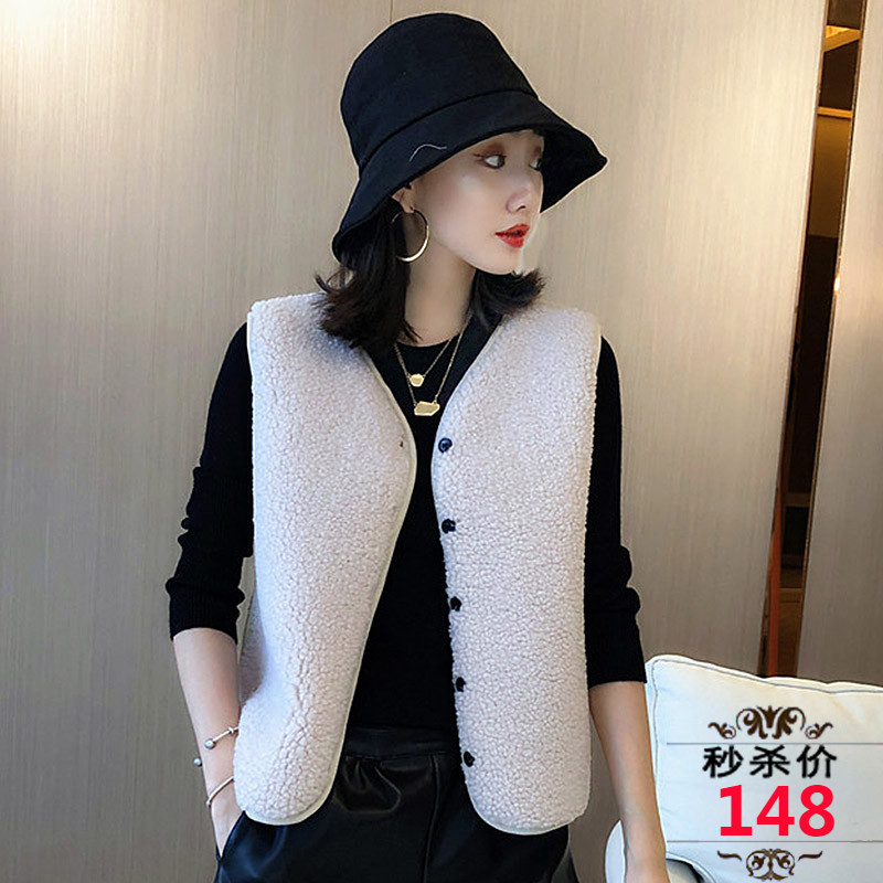 New sheared cashmere lamb wool sleeveless vest fur womens fur one piece Velour vest coat in autumn and winter of 2019