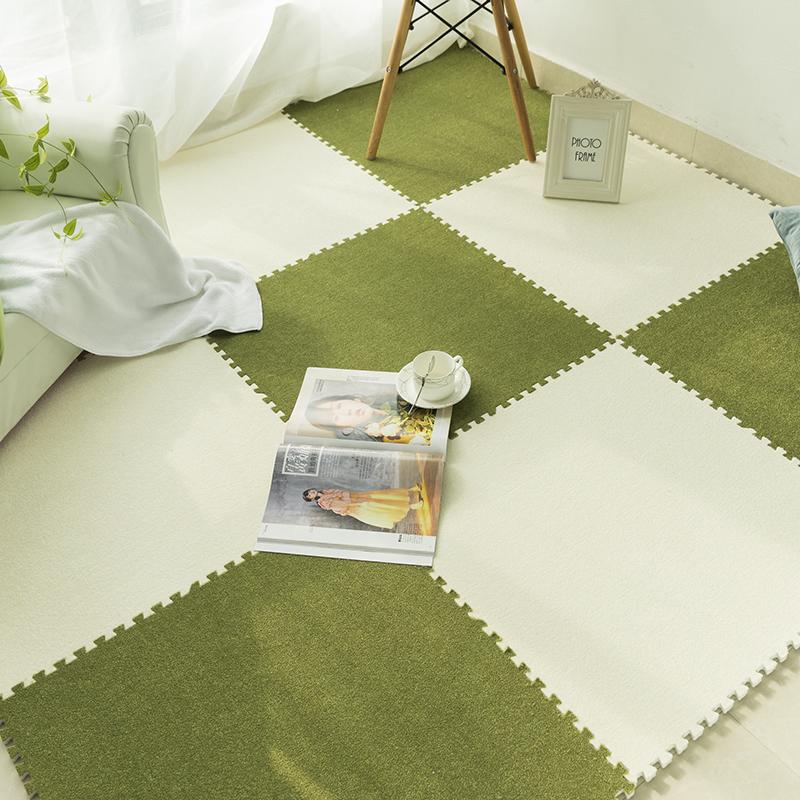 方塊拼接地毯絨面拼圖泡沫地墊毛絨地毯拼接家用房間鋪地板防摔60