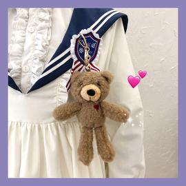 ins软萌可爱少女心毛绒爱心小熊公仔挂件挂饰包包钥匙扣饰品礼物图片