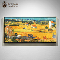 Modern hand-painted oil painting custom famous paintings van Gogh decorative painting harvest simple European living room background wall restaurant hanging painting