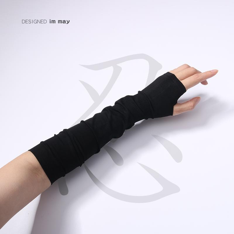 露指穿指忍者手套暗黑色山本半指袖套防晒护臂手袖冰袖ins男女潮