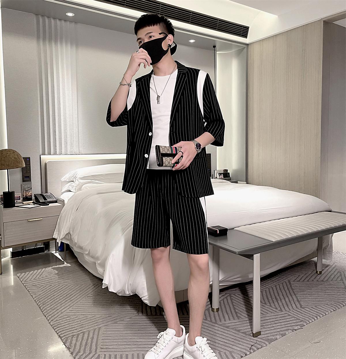夏季轻熟条纹半袖短袖西装男韩版短裤套装A328-21121-P105控145