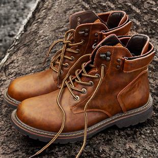 英伦风高帮中帮真皮鞋子美式复古短靴机车牛皮靴工装潮马丁男靴子