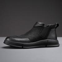斯米尔切尔西靴男马丁靴中帮真皮男靴黑色皮靴英伦皮鞋秋冬季男鞋