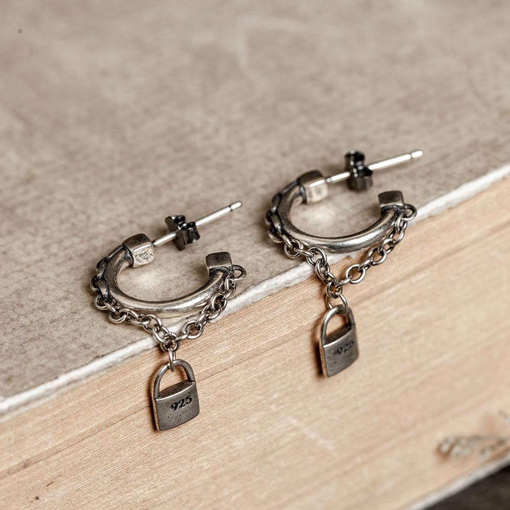 New tassel chain S925 pure silver earrings European and American men and women creative Earrings Korean couple simple fashion jewelry
