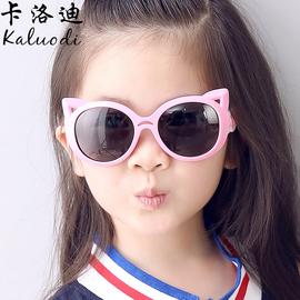 儿童镜太阳镜猫咪儿童墨镜 男童女童 偏光镜墨镜防紫外线眼镜软质图片
