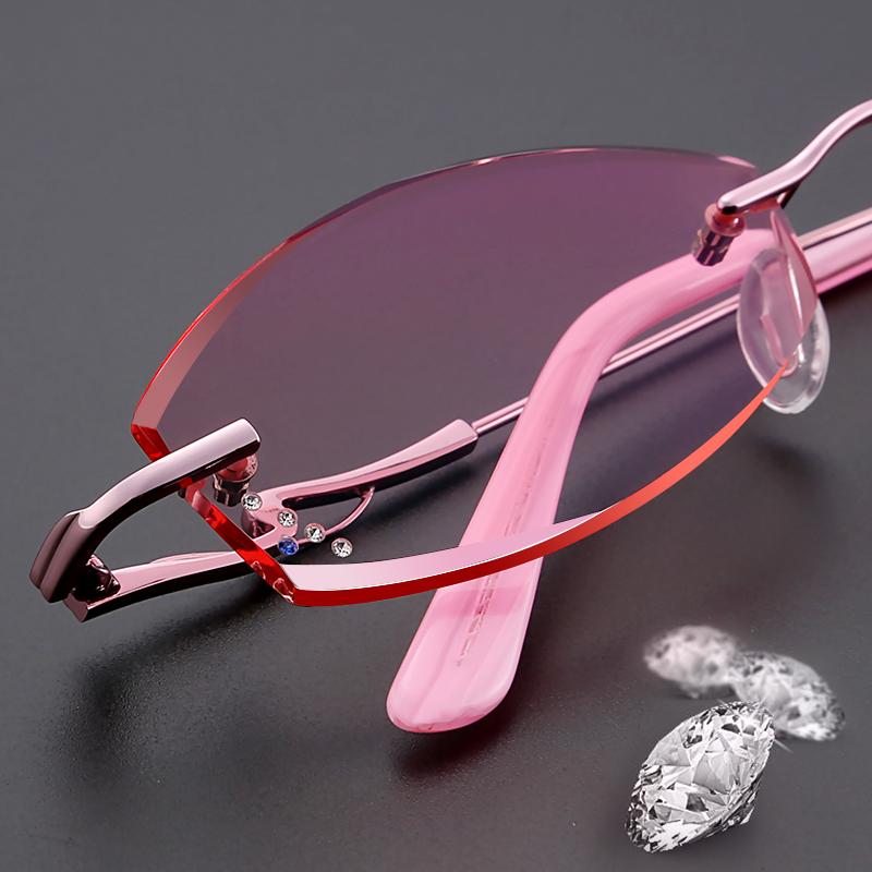 切边眼镜女配近视眼镜镶钻无框眼镜架渐变色平光防辐射近视眼镜潮