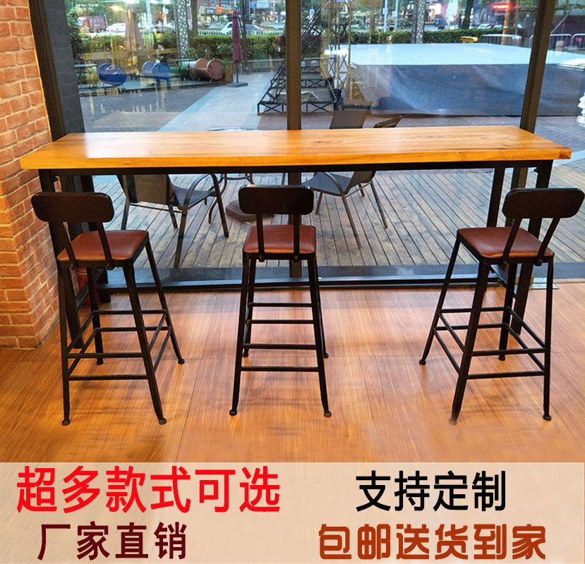Американский домой дерево бар стол железо бар длинный стол бар стол кофе зал ходули столы и стулья опираться на стена полоса стол