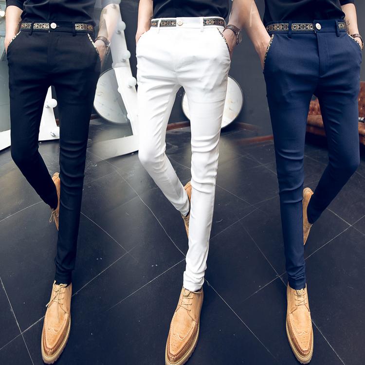 2020春小脚裤修身青少年白色休闲裤子潮流弹力紧身裤K517 P40