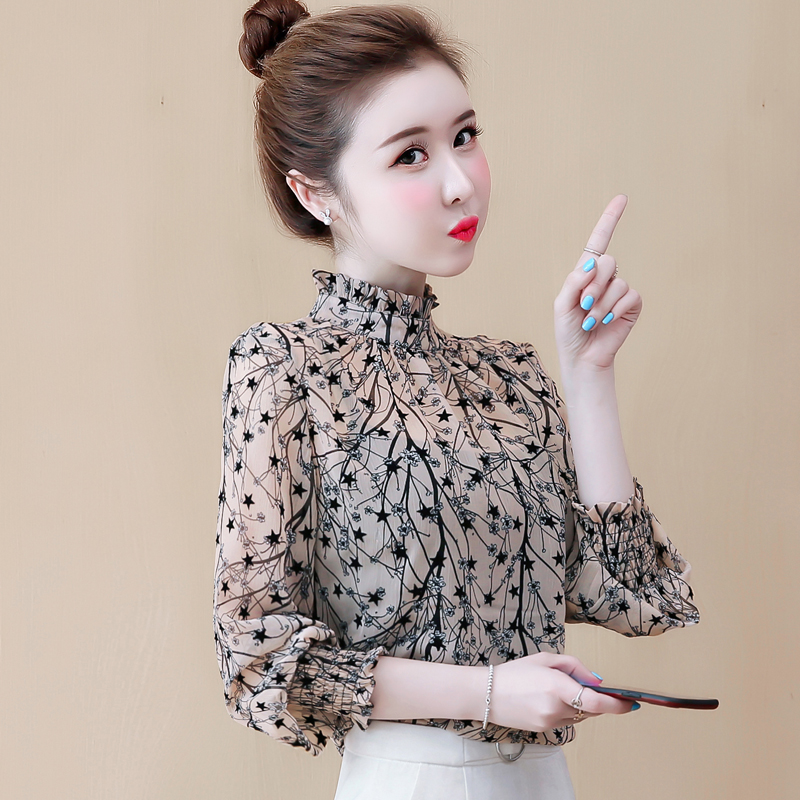 Early autumn chiffon shirt long sleeve womens autumn dress new trend in 2019 autumn top foreign fashion