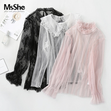 MS she large women's 2019 new autumn style fat sister temperament embroidery straight tube lace mesh bottom coat