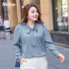 MS she large women's 2019 new autumn style fat mm belly covering, thin and loose temperament, foreign style chiffon shirt
