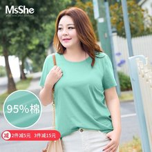 MsShe Large Summer Dress Female 2019 New Style Fat MM Shade Fat Sister Elastic Cotton T-shirt Loose M1903119
